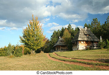 Old village in Serbia - The open air museum, Sirogojno, ...
