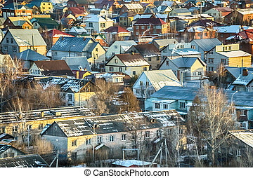 old village in the snow