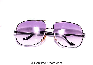 Old Vintage 80's Style Sunglasses on a White Background