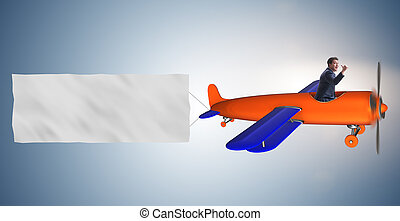 Old vintage airplane with banner ribbon