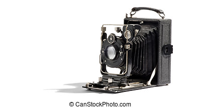 Old vintage bellows camera with the box open and the bellows...