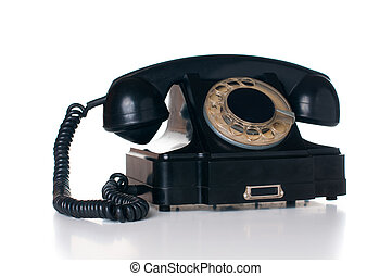 black rotary phone - Old vintage black rotary phone,...