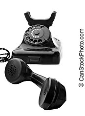 black rotary telephone