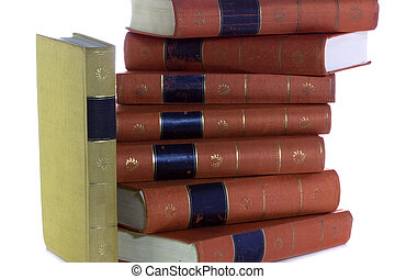 Old vintage books Goethe in a row, isolated on white background