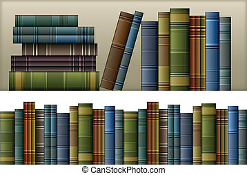 Old vintage books isolated on white, vector illustration