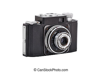 Old vintage camera, isolated on white background