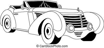 Old vintage car - Old classic vintage car drown in black on...