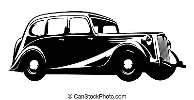 old vintage car isolated on white background