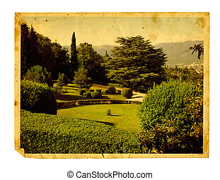 Old vintage card with beautiful Livadia Park isolated on white background. Crimea