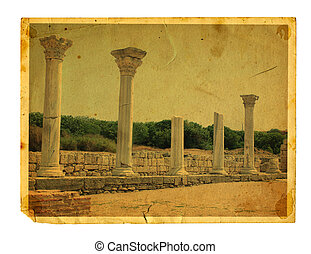 Old vintage card with Chersonesos ruins isolated on a white background. Crimea
