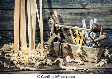 Old vintage carpenter drawing desk