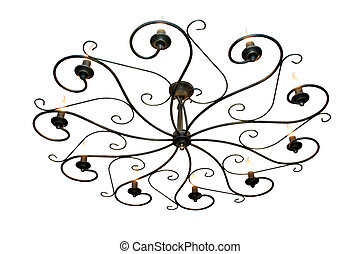 old vintage chandelier with ten lamps