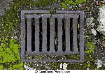 Old vintage city sewer grate road drainage - Beautiful aged...
