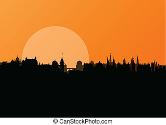 Old vintage city town landscape with moon in detailed illustration background vector