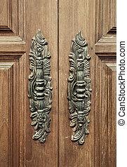 old vintage classic wood furniture door handle
