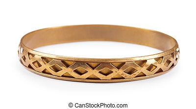 old vintage copper bracelet isolated on white background