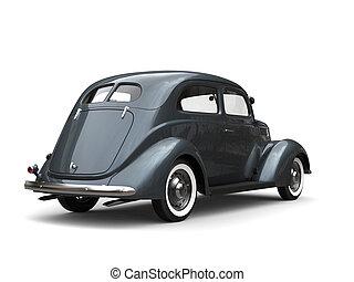 Old vintage dark metallic blue car - back view