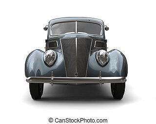 Old vintage dark metallic blue car - front view