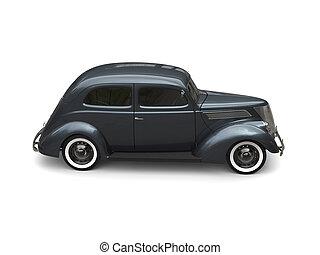Old vintage dark metallic blue car - side view