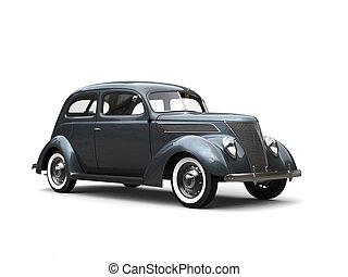 Old vintage dark metallic blue car