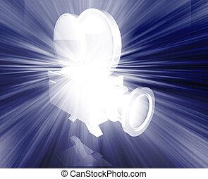 Old vintage film camera illustration shiny glowing concept
