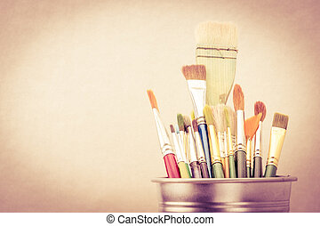 Old Vintage filter style, Group of Used paint brush in silver bucket