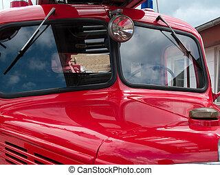 Old vintage fire truck engine