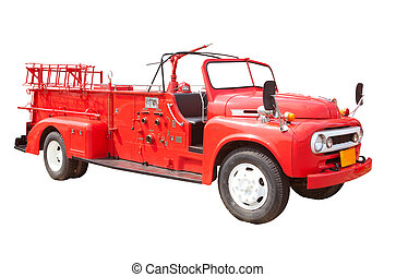 fire truck - Old vintage fire truck isolated over white...