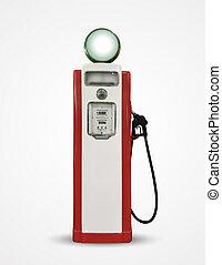 old vintage gasoline petrol pump isolated on plain background