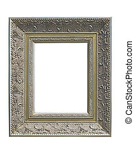 Old vintage golden picture frame isolated on white