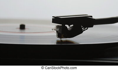 Old vintage gramophone playing lp vinyl record - Old...