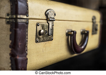 Old vintage hard yeallow suitcase with latch lock and handle...