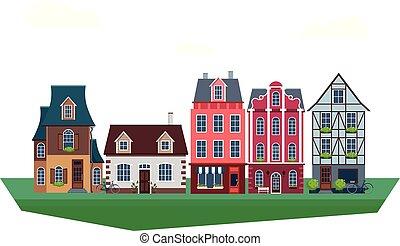 Old Vintage Houses Vector Illustration