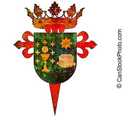 symbol of santiago de compostela - old vintage isolated over...