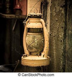 Old vintage kerosene oil lantern