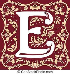 old vintage letter E - letter E vector image in the old ...