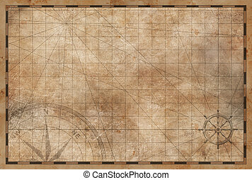 old vintage map background - aged nautical treasure vintage...