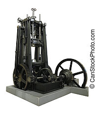 Old vintage metal press machine isolated over white background
