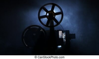 Old vintage movie projector. Side view