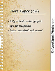 Old Vintage Note Paper, Blank Sheet | EPS10 Vector Graphic |...