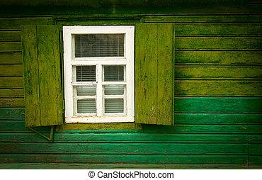 Old vintage open wooden window