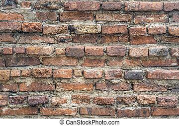 Old vintage orange brick wall background texture.