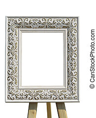 Old vintage ornate white picture frame with pattern isolated