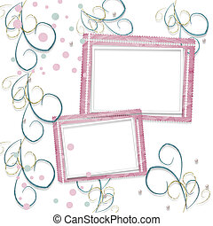 Old vintage paper frame with curls for holiday invitations