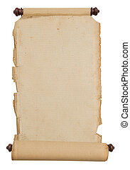 Old vintage paper scroll isolated on white