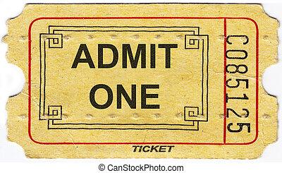 Old vintage paper ticket with number