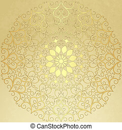 Old  vintage paper with gold round pattern