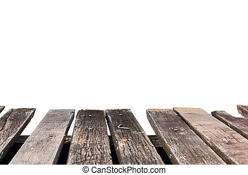 old vintage perspective brown wood floor isolated on white background
