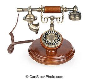 Old vintage phone. Isolated on white background