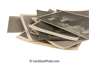 old vintage photos on white background